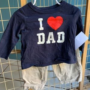"Oshkosh 12 months ""I heart Dad"" shirt & Khaki set"